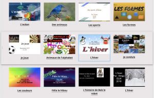 Screenshot of online virtual library book covers