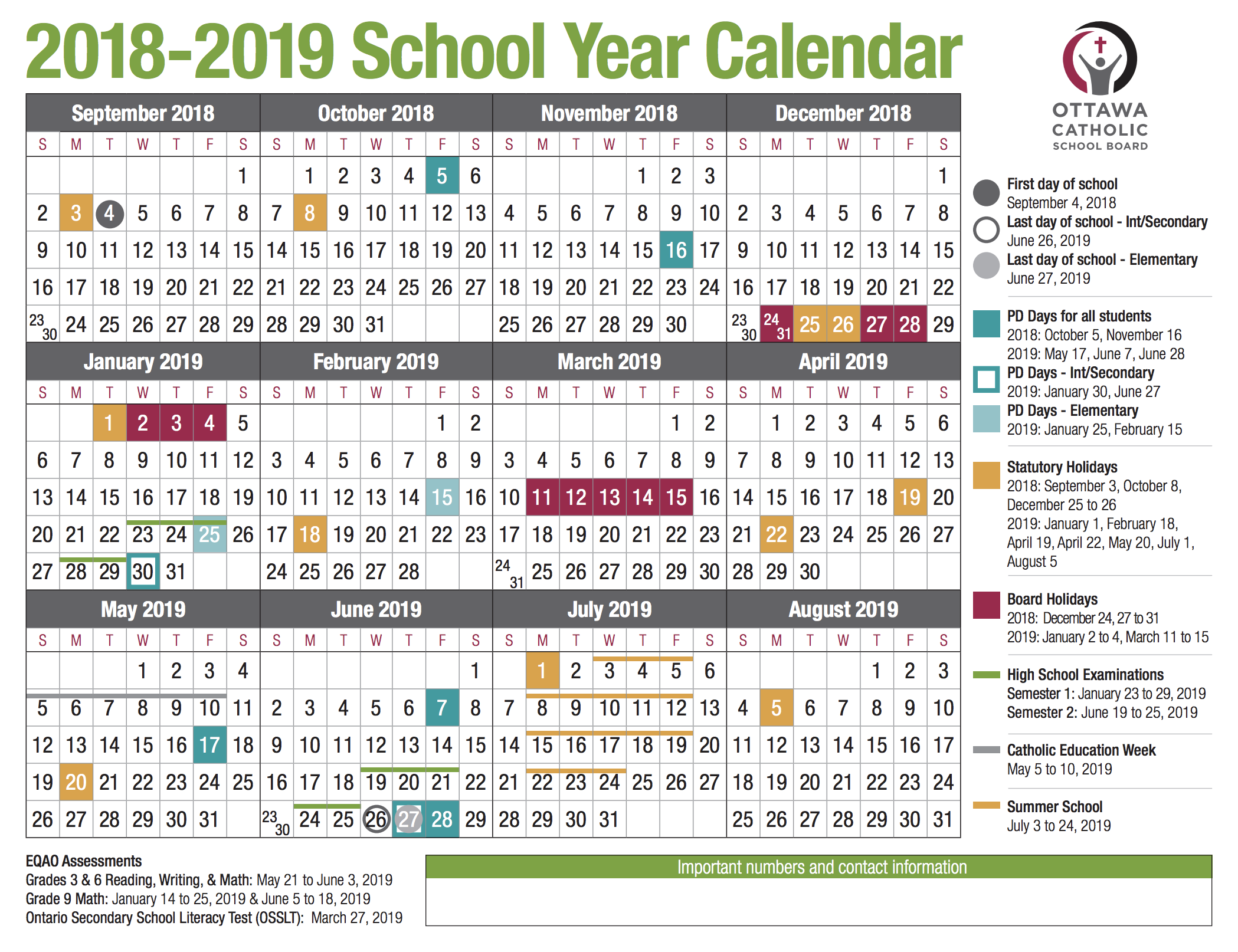 School year calendar from the OCSB