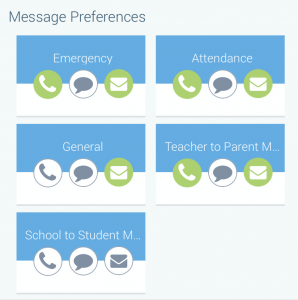 Graphic screenshot of School Messenger app interface showing green icons