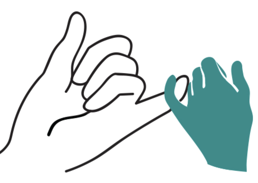 Image of hands making the sign of a promise