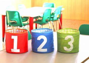 Photo of bins in a kindergarten classroom