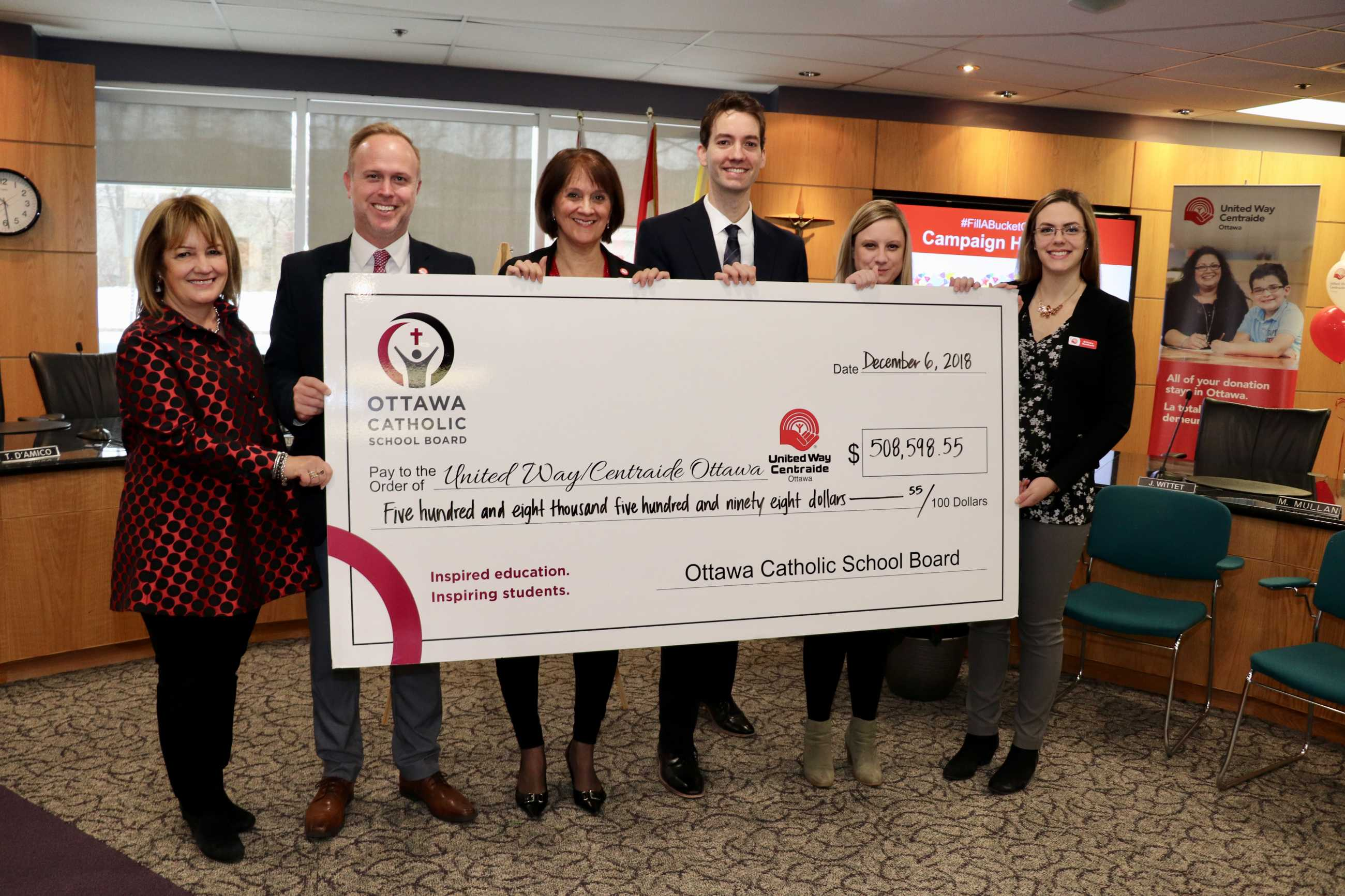 OCSB United Way Campain Final Number Reveal photo