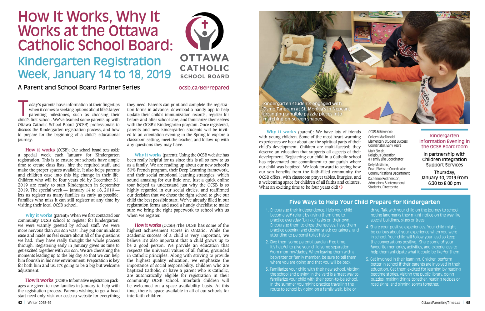 Register your child in an OCSB school