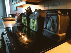 photo of lunch boxes packed and lined up on a counter