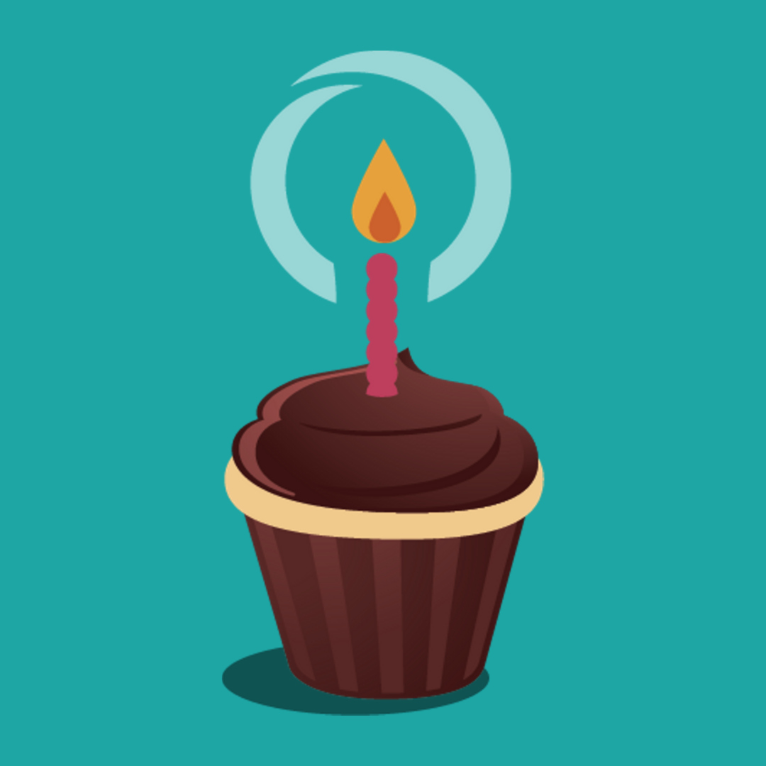 Image of a cupcake on a colourful background
