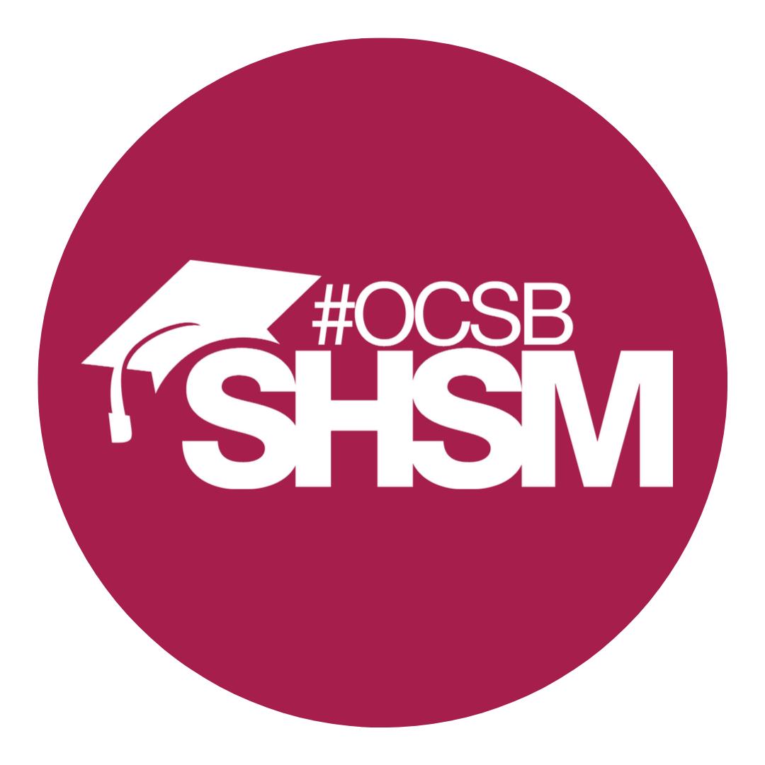 Logo for the OCSB SHSM program containing a graduation cap and the hashtag symbol