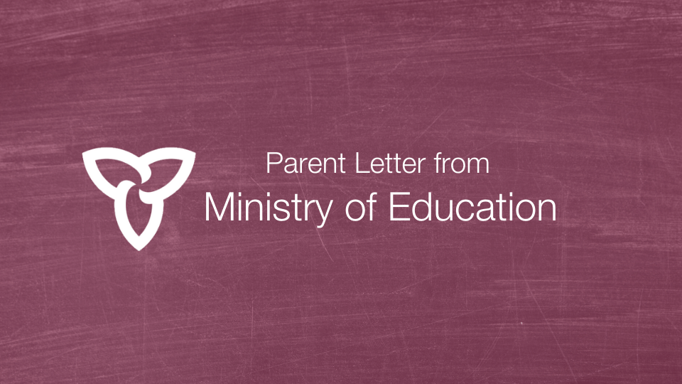 Letter from the Ministry of Education – May 20, 2020