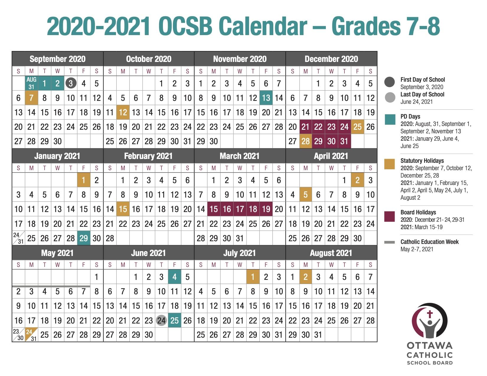 OCSB school year calendar image